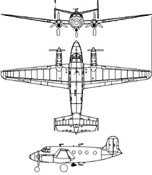 Plan 3 vues du Dassault MD.315 Flamant
