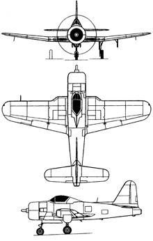 Plan 3 vues du Ryan FR-1 Fireball