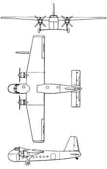 Plan 3 vues du Bristol  Freighter