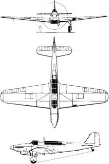 Plan 3 vues du Fairey  Fulmar