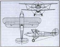 Plan 3 vues du Hawker  Fury