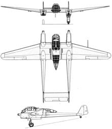 Plan 3 vues du Focke-Wulf Fw 189 Uhu