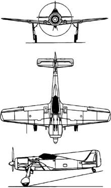 Plan 3 vues du Focke-Wulf Fw 190