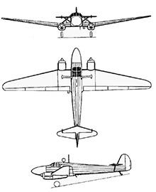 Plan 3 vues du Focke-Wulf Fw 58 Weihe