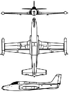 Plan 3 vues du Soko G-2 Galeb