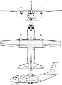 Plan 3 vues du Aeritalia G.222