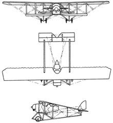 Plan 3 vues du Caudron G.III