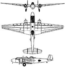 Plan 3 vues du Mitsubishi G3M  'Nell'