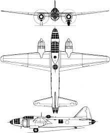 Plan 3 vues du Mitsubishi G4M  'Betty'