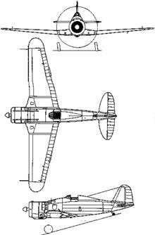 Plan 3 vues du Fiat G.50 Freccia