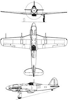 Plan 3 vues du Fiat G.55 Centauro