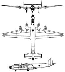 Plan 3 vues du Nakajima G5N Shinzan 'Liz'