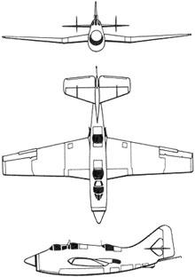 Plan 3 vues du Fairey  Gannet