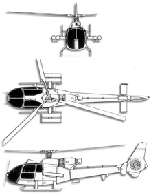 Plan 3 vues du Aérospatiale SA.342 Gazelle
