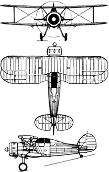 Plan 3 vues du Gloster SS.37 Gladiator