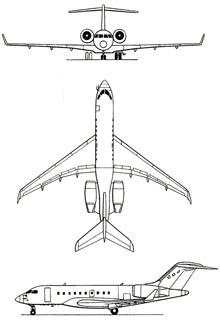 Plan 3 vues du Bombardier Global