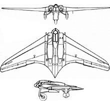 Plan 3 vues du Gotha Go 229