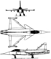 Plan 3 vues du Saab JAS 39 Gripen