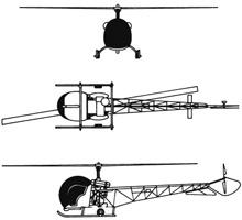 Plan 3 vues du Bell H-13 Sioux