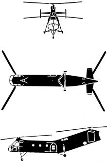 Plan 3 vues du Piasecki H-21 Shawnee/Workhorse