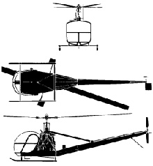Plan 3 vues du Hiller H-23 Raven