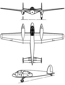 Plan 3 vues du Hanriot H-232
