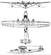 Plan 3 vues du Kawanishi H6K  'Mavis'