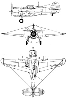Plan 3 vues du Curtiss H.75 Hawk