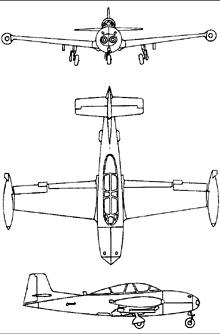 Plan 3 vues du Hispano HA-200 Saeta