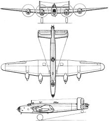 Plan 3 vues du Handley Page HP.57 Halifax