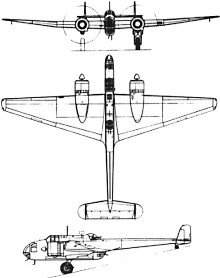 Plan 3 vues du Handley Page HP.52 Hampden