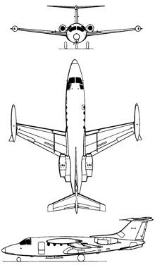 Plan 3 vues du MBB HFB-320 Hansa Jet