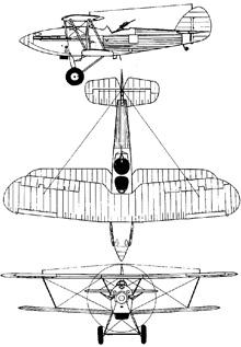Plan 3 vues du Hawker  Hardy