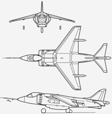 Plan 3 vues du Hawker-Siddeley  Harrier