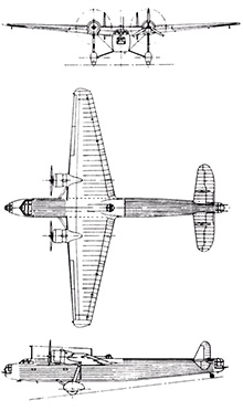 Plan 3 vues du Handley Page HP.54 Harrow