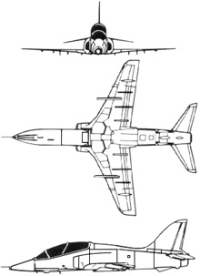 Plan 3 vues du BAe  Hawk