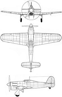 Plan 3 vues du Hawker Tornado