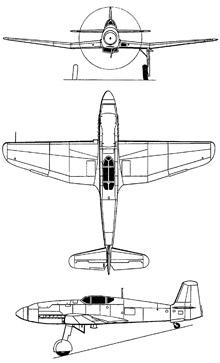 Plan 3 vues du Heinkel He 100