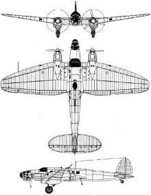 Plan 3 vues du Heinkel He 111