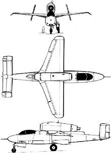 Plan 3 vues du Heinkel He 162 Volksjäger