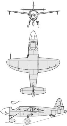 Plan 3 vues du Heinkel He 176
