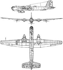 Plan 3 vues du Heinkel He 177 Greif
