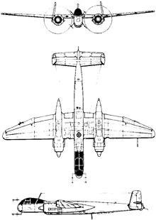 Plan 3 vues du Heinkel He 219 Uhu