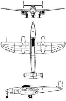 Plan 3 vues du Heinkel He 280