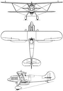Plan 3 vues du Heinkel He 51