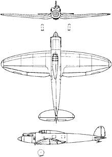 Plan 3 vues du Heinkel He 70 Blitz