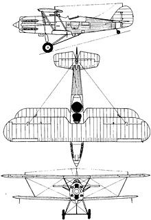 Plan 3 vues du Hawker  Hector