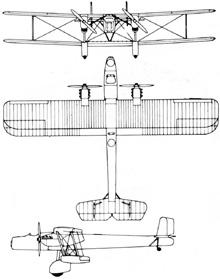 Plan 3 vues du Handley Page HP.50 Heyford