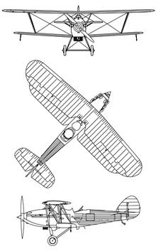 Plan 3 vues du Hawker Hind