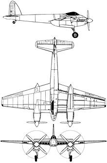 Plan 3 vues du De Havilland D.H.103 Hornet / Sea Hornet